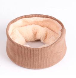 Thick knitted wool scarves on-line-Venda quente Das Mulheres Dos Homens de Lã De Malha Anel Cachecol Plus Velo Outono Inverno Quente Coldre Gola de Cor Sólida Neck Wraps Thick Silenciadores