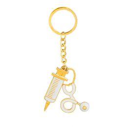 Wholesale Enamel Key Ring - Medical Profession Stethoscope Syringe Injection Pendant Key Chain For Nurse Doctor Heart Key Ring White Enamel Women Jewelry