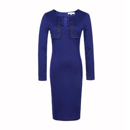 Wholesale Two Color Collar Shirt - Autumn Women Dress New Fashion Elegant Square Collar Fake Two Pieces Long Sleeved Solid Color Slim Pencil White Blue Dresses