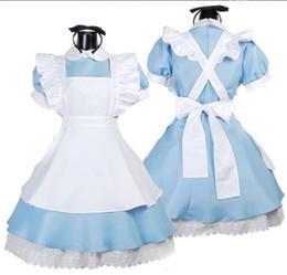 Robe alice en Ligne-Halloween Femmes Adulte Anime Alice Au Pays Des Merveilles Bleu Robe De Soirée Alice Rêve Femmes Sissy Maid Lolita Cosplay Costume