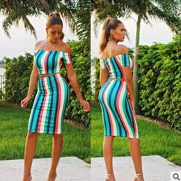 b881a42fcf4ab 2018 summer womens dress Stripe print suit Sexy strapless T-shirt + bag hip  skirt 2 pieces Fashion casual ladies skirt set clothing