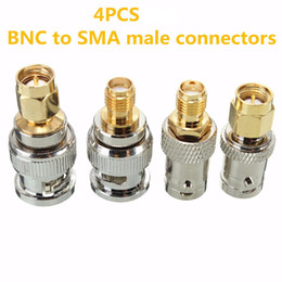 Wholesale Male Bnc Connectors - 4pcs BNC Male Plug To SMA Female Jack Straight RF Connector Adapter