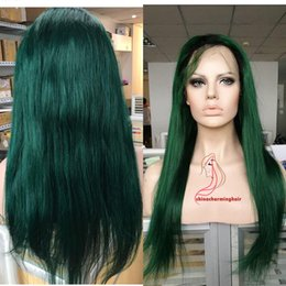 Wholesale Ombre Green - Virgin Brazilian Ombre Silky Straight Glueless Full Lace Human Hair Wigs Black and Green Lace Front Wigs 130 Density Bleached Knots