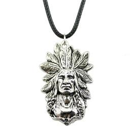 Catena a mano indiana online-WYSIWYG 5 pezzi in pelle catena collane pendenti con girocollo collana fatta a mano uomini capo indiano 58x35mm N6-B13321