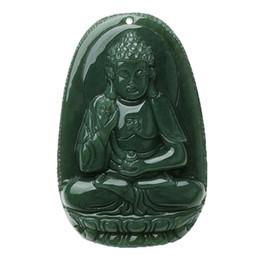 Wholesale Carved Buddha Jewelry - 100% Pure Natural Hand Carving Sakyamuni Bodhisattva Buddha Necklace PendantWomen Mens Jade Gemstone Jewelry Gift Wholesale