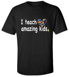 J'enseigne Amazing Enfants Autisme T-shirt T-shirt Hommes Numérique Impression Directe Blanc À Manches Courtes Personnalisé Plus Taille Séries T-Shirts ? partir de fabricateur