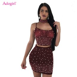 1b04886a3af8 Adogirl Sheer Mesh Pearls 3 Piece Set Women Sexy Night Club Outfits  Choker+Spaghetti Straps Lace Up Backless Crop Top+Mini Skirt on sale