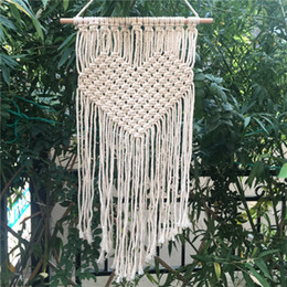 Wholesale Home Handmade Decoration - Handmade Knitting Heart Tapestries Bohemian Macrame Woven Wall Hanging Tapestry Home Wedding Decoration 21 5cm C R