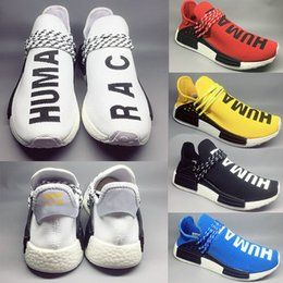 dcc7dfef762d6 2018 Human Race Casual Shoes Pharrell Williams Equality Cream Holi Core  Blank Canvas Sun Glow Yellow Trainer Sports Sneakers Size 36-47