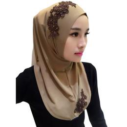 écharpes de hijab de dentelle Promotion Dames Dentelle Broderie Bandeau Hijab Islamique Foulards Bonnet Châles Musulman Écharpe Femmes Hijab Islamique 2018 11 Couleurs de haute qualité