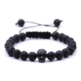 Wholesale Men Gift Product - New Products Wholesale Christmas Gift Lava stone Beads black Skull Yoga Bracelets Men Party Jewelry Gift