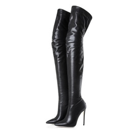 Wholesale thigh high leather heels - 2018 new hot fashion boots pointed toe spike high heels winter women boots Soft Leather zip Thigh-High Boots shoes women big size