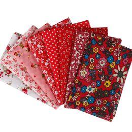 Mestiere di panno di cotone online-Tessuto 100% cotone per ricamo stile floreale rosso pastorale per tessuti fai-da-te Patchwork tessuti e artigianato tessuto 8 pezzi 25x25 cm