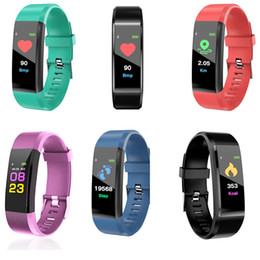 Wholesale meter gps - ID115HR plus Smart Wristband Heart Rate Smart Band Fitness Tracker Smart Bracelet relogio for IOS android ipad