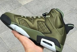 Wholesale leather jacket blue man - Air 6 Flight Jacket Basketball Shoes Sneakers Men Nylon Army Green Top Quality With Original Box 2017 Newest Drop Shipping