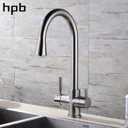 2019 il rubinetto della cucina filtra l'acqua HPB finitura nichel spazzolato 3 vie rubinetto cucina rubinetto acqua 2 funzioni miscelatore lavello acqua calda e fredda rotazione 360 HP4303 il rubinetto della cucina filtra l'acqua economici