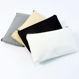 Argentina 20 unids / lote bolsa de maquillaje de bricolaje bolsas de maquillaje con cremallera sólida color puro personalizado lienzo pintura bolsa de viaje de algodón monedero o Suministro