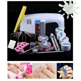 Wholesale glitter glue - nail tips kit 9W Dryer Lamp Tube UV Gel Brush Buffer Guides Toe Seperator Glitter Powder Liquid Tools Nail Tips Glue DIY