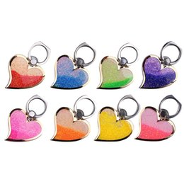 Wholesale Ring Liquid - Rotating 360 Liquid Finger Grip Bling Glitter Heart Universal Cell Phone Luxury Ring Hook Holder Stand For iphone 6 7 8 Samsung tablet pc