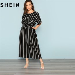 b700bf22bdb6 SHEIN Black And White Striped Raglan Sleeve Plus Size Belted Women Wide Leg  Jumpsuits Office Lady O Neck Casual Loose Jumpsuit