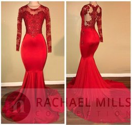 elastic long sleeves t shirt women Promo Codes - African Red Long Sleeve Mermaid Prom Dresses 2018 Beads Crystal Lace Appliqued Elastic Satin Sweep Train Women Formal Party Gowns BA7856