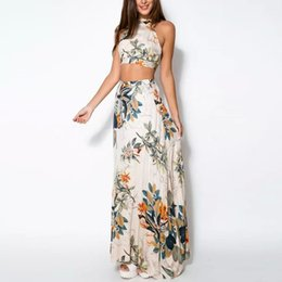 crop top skirt floral Coupons - Summer Women Bandage Floral Casual Beach Dress Crop Top+Long Skirt 2 Pcs SetYRD