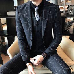 Wholesale Mens Grey Skinny Suit - Large Size Plaid Casual Business Mens Suits Male Slim Fit 3 Pieces Set Suits Korean Nightclub Men Costume Formal Party