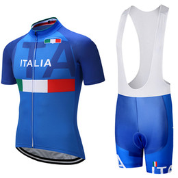 Wholesale Mens Padded - 2018 ITALIA TEAM PRO cycling jersey 9D pad bibs shorts set Ropa Ciclismo mens summer quick dry bike shirts Maillots Culotte Sports Outdoors