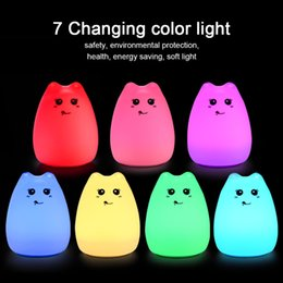 Wholesale Lamp Emergency - led Night Light Cute Cat Lamp Colorful Light Silicone Cat Night Lights 2 Modes Children Cute Night Lamp Bedroom Rechargeable Touch Sensor