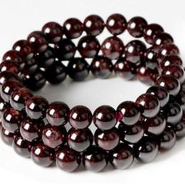 pulseira de pedra granada vermelha Desconto Vinho Vermelho Garnet Pedra Buddha Beads Gem Pedra Pulseiras Para As Mulheres Strand Pulseira Homens Jóias Pulseras