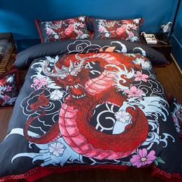 Edredón rojo negro online-Textiles para el hogar Conjunto de ropa de cama del dragón EE. UU. Twin Full Queen King Super King Size rojo Negro Funda de almohada Juego de funda de cama Juego de ropa de cama