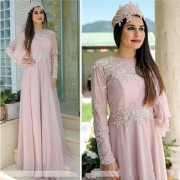 Wholesale Formal Hijab - Pink Long Sleeve Mother of the Bride Dress Women Formal Evening Dresses Crew Neck Appliqued A-Line Muslim Hijab Formal Mother Wear Plus Size