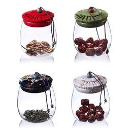 glas lebensmittel lagerbehälter deckel Rabatt Transparente Glasflasche Blumen Tee Lebensmittel Lagerung Glas Große Kapazität Container Küche Gewürz Versiegelt Dosen mit Deckel