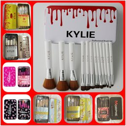 Wholesale Makeup Brush Gift Set - NEWEST KYLIE Makeup Brushes Makeup Tools Professional Brush sets Iron box Free shipping+GIFT