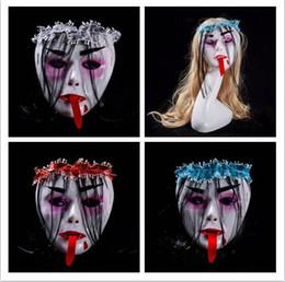 2019 volle zombie-masken 2019 neue stil Full Face terror Bar Halloween Grimasse Zombie Vampire Menschliches skelett Maske Rote zunge Eine perücke maske 17 * 18 * 7 cm günstig volle zombie-masken