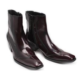 Wholesale Boot Shoe Brush - Autumn Winter Square Toe Zipper Men Boots Chelsea Booties Genuine Leather Ankle Boots Black Red Brush Color Men Shoes