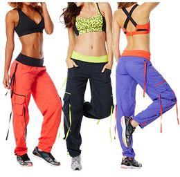 Wholesale cargo pants dance - XS S M L XL XXL woman bottoms Soft-N-Stretch Cargo Pants Dance Pants PURPLE ORANGE BLACK free shipping
