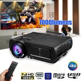 projetor vga Desconto 7000LM HD 1080 P T5 LCD projetor Beamer USB VGA HDMI AV TF Para Teatro de Cinema 12 V para 110 V / 240 V