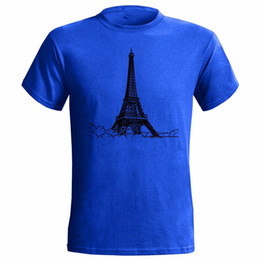 Construir torre eiffel online-EIFFEL TOWER SKETCH ART MENS T SHIRT FRANCIA FRANCES NATIONAL BUILDING Marca Algodón Hombres Ropa Hombre Slim Fit Camiseta