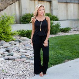 004c6b3e0d86 Cotton Sling Strapless Black Jumpsuit Long Pants Sleeveless For Women 2018  Wide Leg Loose Spaghetti Strap Romper Plus Size XXXL