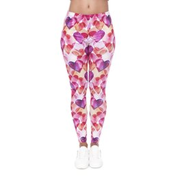 Wholesale Colorful Watercolor - Women Leggings Watercolor Love Heart 3D Graphic Full Print Girl Stretchy Tight Capris Colorful Pattern Yoga Pants Gym Soft Trousers (J40587)