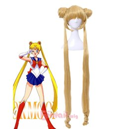 Wholesale Sailor Wig - Free shipping New High Quality Fashion Picture wig >>Tsukino Usagi Sailor Moon Long Golden Blonde Ponytails Cosplay Hair Full Wigs