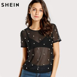 Wholesale Sexy Pearl Blouse - SHEIN Pearl Beading Mesh Top Sexy Womens Tops and Blouses Black Round Neck Short Sleeve Sheer Mesh Tunic Blouse