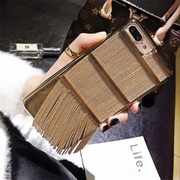 Wholesale Metal Gold Tassels Chain - For Iphone 6 6S Plus 7 8 Plus x Iphonex Phone case Fashion Luxury tassel chain metal Hard PC Back Cover Coque