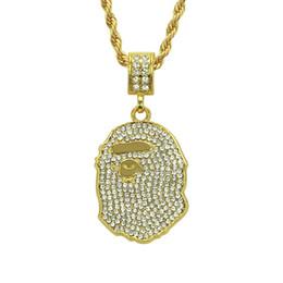Wholesale imitation guns - Tide brand APE head AAA+ Pendant Necklace Bracelet Gold Black Gun Plated Alloy diamond Fashion Jewelry for Women Men Hip Hop Necklace