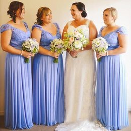 Wholesale plus size juniors dresses - 2018 Blue V-Neck Chiffon A-Line Country Bridesmaid Dresses Lace Cap Sleeves Ruffle Draped Plus Size Junior Maid Of Honor Evening Prom Gowns