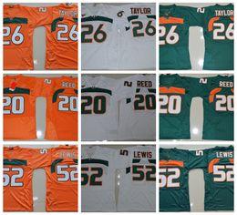 Maillots de football Vintage de Miami Hurricanes College - Vert 26 Sean Taylor 52 Ray Lewis R.Lewis 20 Ed. ? partir de fabricateur