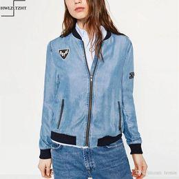 2509cd0d586d4 Wholesale- Autumn Women Denim bomber Jacket jaqueta feminina Slim Zipper  Long Sleeve Jean Jakcet Patch Designs casacos Jacket Women Coat