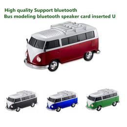 Wholesale Mp3 Player Car Shaped - High quality colorful mini bluetooth speaker car shape mini bus speaker support FM +U disk Insert Card mini speaker MP3 player