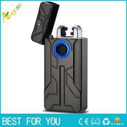 Wholesale iron man arc - New Iron Man Design Fingerprint Touch Switch USB Rechargeable Pulsed Arc Lighter Electric Plasma Cigarette Lighter Cigar